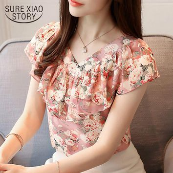 2019 summer blouses women shirts chiffon fashion plus size floral print women's tops short sleeve women clothing blusas 0464 30