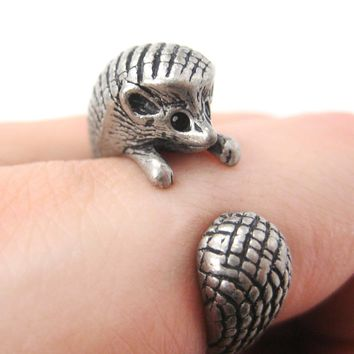 Hedgehog Porcupine Animal Wrap Around Ring in Silver | Sizes 4 to 9 Available