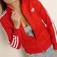 Adidas Women Gym Sport Casual Cardigan Jacket Coat Windbreaker Sweatshirt-3