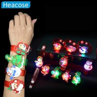 2PCS Christmas decoration creative glowing watch Christmas Supplies snowman Santa bracelet clap ring toy Xmas ornament gifts