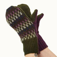 Super Awesome Mittens in Olive Green Burgundy Indigo Rose and Ecru - Recycled Wool - Fleece Lined