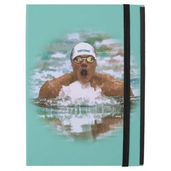 Swimmer Athlete In Pool With Water Drops Painting iPad Pro Case
