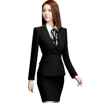 Fmasuth Autumn Office Wear Uniform Black Skirt Suit Full Sleeve OL Blazer Jacket+Skirt 2 Pieces Business Ladies Suits ow0379