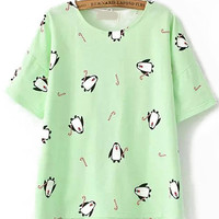 Dip Hem Penguin Print Green T-shirt