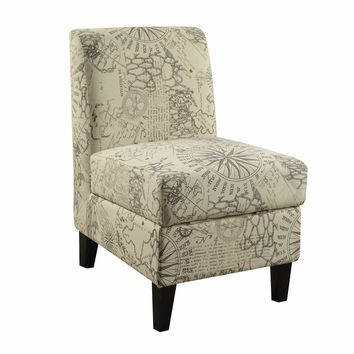 ACME Ollano II Accent Chair with Storage in Map Pattern
