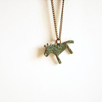Horse necklace green patina horse jewelry, Horse charm necklace silver or bronze chain, Equestrian jewelry, Greek ethnic native necklace