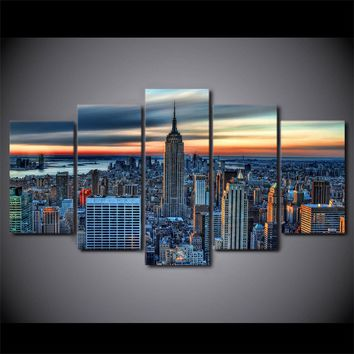 New York City Skyline Cityscape Print 5 piece canvas wall art