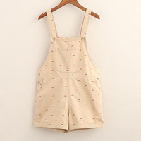 Geometric patterns pocket Overalls shorts casual shorts mori girl 2017 summer