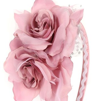 Rose Pink Girls Organza & Satin Double Flower Headband
