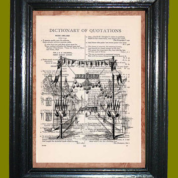 Circus Carnival - Vintage Dictionary Page Art Upcycled Book Art Illustraion Print on Dictionary Page, Circus Print
