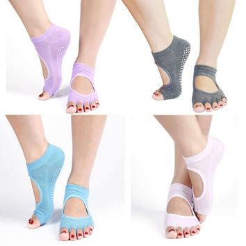 1Pair Half Toe Ankle Grip Yoga Dance Pilates Socks Five 5 Toes Non Slip Socks