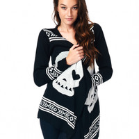 "Women's ""Dawn Skull"" Cardigan Sweater (Black)"