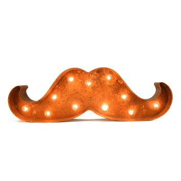 Small Mustache Vintage Marquee Sign with Lights (Rustic)