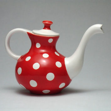 RESERVED LISTING Red and White Teapot Polka dots Modern Design Handmade Fine Art