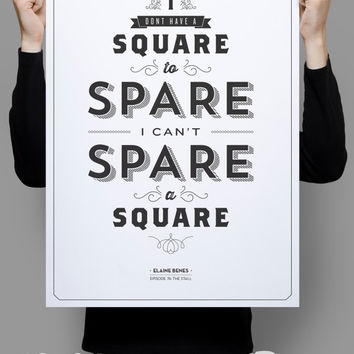 "Spare a Square Poster 11x17"" - Seinfeld Quote Print - Vintage Retro Typography"