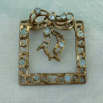 Aqua Rhinestones Square Wreath Pin Ribbon Bow Vintage Jewelry