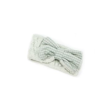 """Women's Cosmetic Headband, Mint with """"Stripe"""" print Gingham Style Bow, by MinxNY"""
