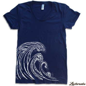 Womens WAVE t-shirt american apparel S M L XL (16 Colors Available)