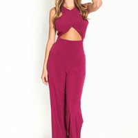 Criss Cross Cutout Silky Jumpsuit - LoveCulture