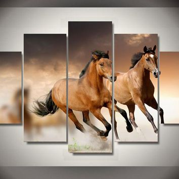 Running Horses 5-Piece Wall Art Canvas