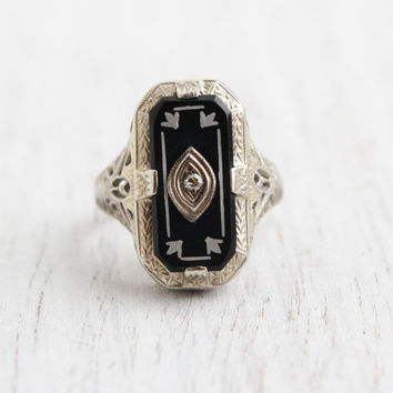 Antique 14K White Gold, Black Onyx, & Diamond Ring - Art Deco 1920s Fine Jewelry Signed OB Ostby Barton / White Enamel Accents