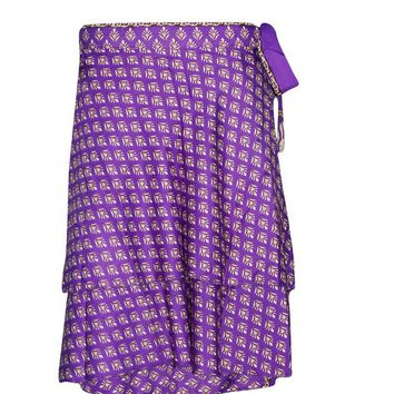 Women's Short Wrap Skirt Purple Premium Silk Two Layer Reversible Boho Sari Skirts