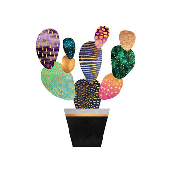 Pretty Cactus Hex Wall Decal