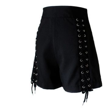 Gothic Shorts Women Black Lace-up Straps Zipper Retro