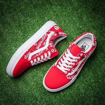 Best Online Sale Supreme x Vans Classic Red White Graffiti Sneaker Casual Shoes Skateb