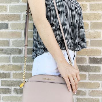 Michael Kors Emmy Small Cindy Dome Crossbody Fawn