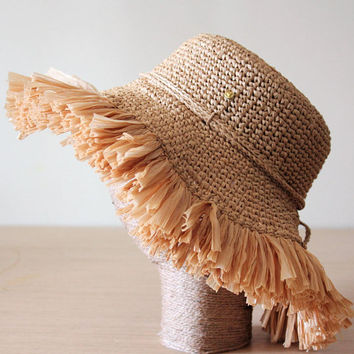 Wide brim hat Raffia, Beach hat, Straw hat, Fringe trim, Floppy beach hat, Crochet hat women, Summer hat, Adjustable hat, Packable sun hat