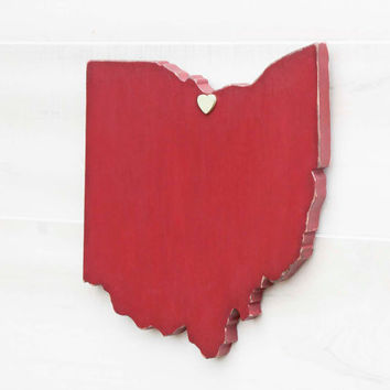 Ohio state shape sign wood cutout wall art with heart or star 35 Colors. Wedding Guestbook Anniversary Gift Country Cottage Chic Decor