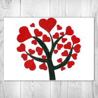 Heart Love Tree - Red Glitter Canvas