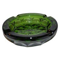Pre-owned Retro Green Glass Floral Design Ashtray