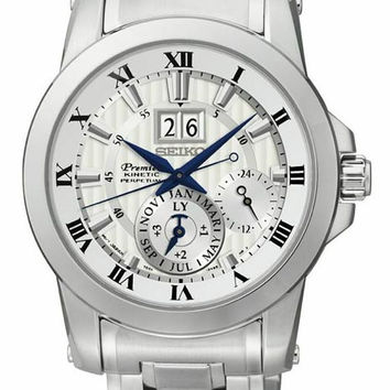Seiko Mens Premier Sport Kinetic Perpetual - Stainless Steel - White Dial