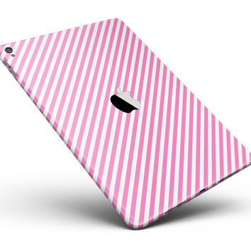 "The Pink and White Slanted Stripes Full Body Skin for the iPad Pro (12.9"" or 9.7"" available)"