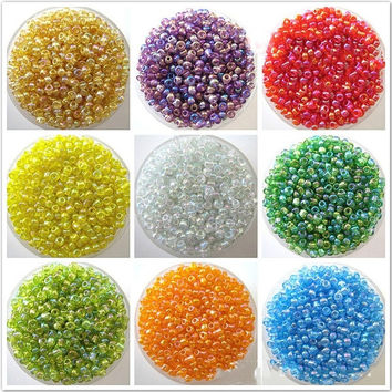 1200Pcs 2mm Colorful Round Czech Glass Seed Spacer Loose Beads Jewelry DIY Making