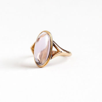 Vintage 10k Rosy Yellow Gold Amethyst Cabochon Ring - Size 6 1/2 Light Purple Rose De France Oval Gem February Birthstone Fine Jewelry
