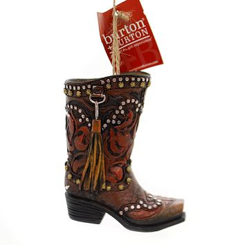 Holiday Ornaments COWBOY BOOT Polyresin Studs Tassel Stars 9733629 Red