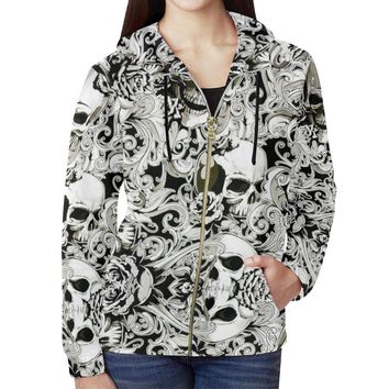 Paisley Skulls Women's All Over Print Full Zip Hoodie
