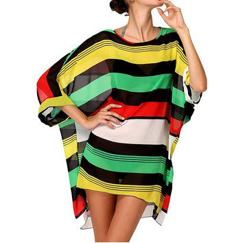 Summer Fashion Sexy Womens Beach Cover Up Stripes Oversized Beach Swimsuit Cover