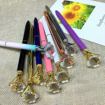 New School Stationery High Quality Big Crystal Diamond Ballpoint Pen Bling Crystal Metal Pen School Office Supplies