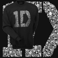 1D One Direction Floral White Ink Black Crewneck Sweatshirt Size SMALL