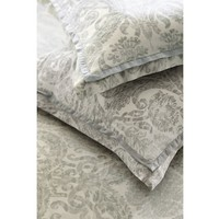 Samantha Damask Cotton Sham, Euro, Smoke Gray