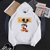 """""""Gucci"""" Vintage Cartoon Pattern Letter Print Hooded Long Sleeve Sweater Women Casual Pullover Hoodie Tops"""