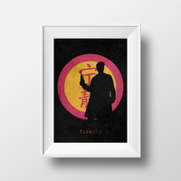 Firefly silhouette of Captain Malcolm Reynolds, Serenity, Chinese