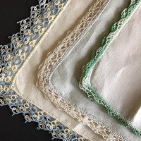 Vintage Hankies Handkerchiefs Set of Three Repurpose Crochet Edging Delicate Cotton and Linen Hankies Handmade Crochet and Tatting Hanky