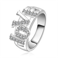 New Women's 925 Sterling Silver Plated knit Ring Clear CZ Rings Size = 1958001412