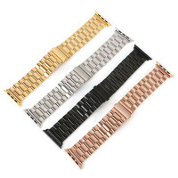 2016 Hot  Metal Stainless Steel Watch Strap Black Gold Silver Band for Apple Watch Band 38mm 42mm
