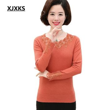 XJXKS Women's Spring And Autumn Long-sleeved Sweater Solid Color Round Neck Plus Size Loose Big Yards Models Cashmere Sweater